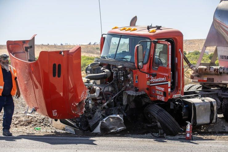 The driver of the Robertson's truck was not injured in the crash. (Hugo C. Valdez, Victor Valley News)