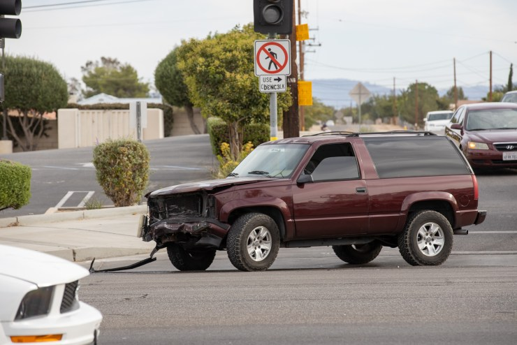 Three occupants from the GMC Yukon were transported to local hospitals with minor injuries. (Hugo C. Valdez, Victor Valley News Group)