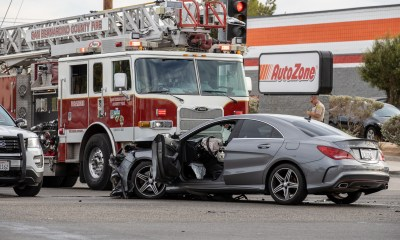 Police said the driver of the Mercedes ran the red light. (Hugo C. Valdez, Victor Valley News Group)