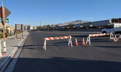 Road closure at D Street and the I-15 freeway in Victorville. (photo by Travis Dixon)