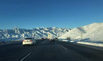 A view of the snow capped mountains along the southbound I-15 in the cajon pass. (Photo by Ebony Jamison)