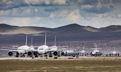 Delta airplanes parked on the runway of SCLA in Victorville.