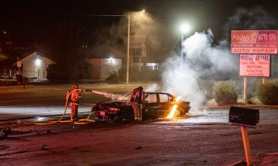 Victorville city firefighters extinguished a vehicle fire. (Gabriel D. Espinoza, VVNG.com)