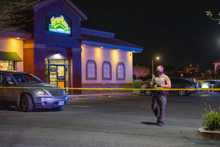 (A man was shot and killed in the Farmer Boys parking lot Sunday night. Gabriel D. Espinoza, VVNG.com)