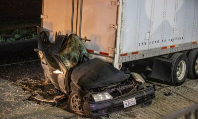 A driver was killed after slamming into the back of a semi on the I-15 in Victorville. (Gabriel D. Espinoza, VVNG.com)