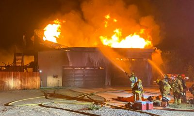 Four firefighters were injured during a Sunday night fire in Phelan. (Photo courtesy of San Bernardino County Fire/Twitter)