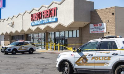 Authorities are investigating after a man was shot near the Harbor Freight in Victorville. (Hugo C. Valdez, VVNG.com)