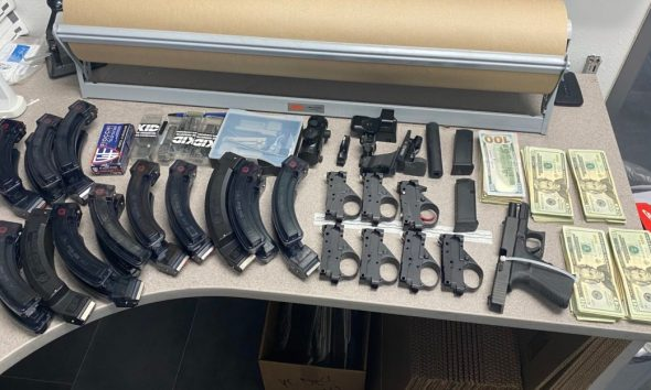 Five subjects are arrested for possession of 108lbs of marijuana, a firearm, and several large-capacity magazines