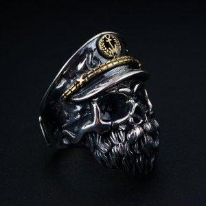 Men's Sterling Silver Captain Skull Ring