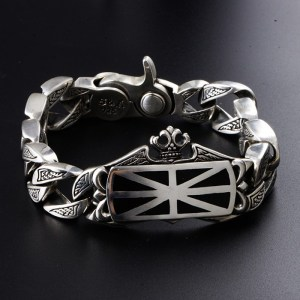 Men's Sterling Silver United Kingdom Flag Bracelet