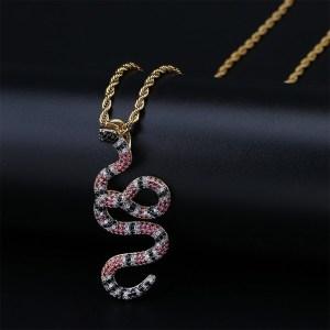 Men's Copper Hip Hop Diamond Snake Necklace