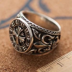Men's Sterling Silver Artificial Obsidian Cross Ring