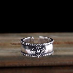Men's Sterling Silver Cross Cuff Ring