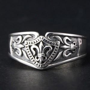 Men's Sterling Silver Delicate Fleur De Lis Ring