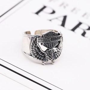 Men's Sterling Silver Harley Biker Eagle Ring