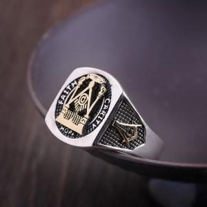 Men's Sterling Silver High Polishing Masonic Ring