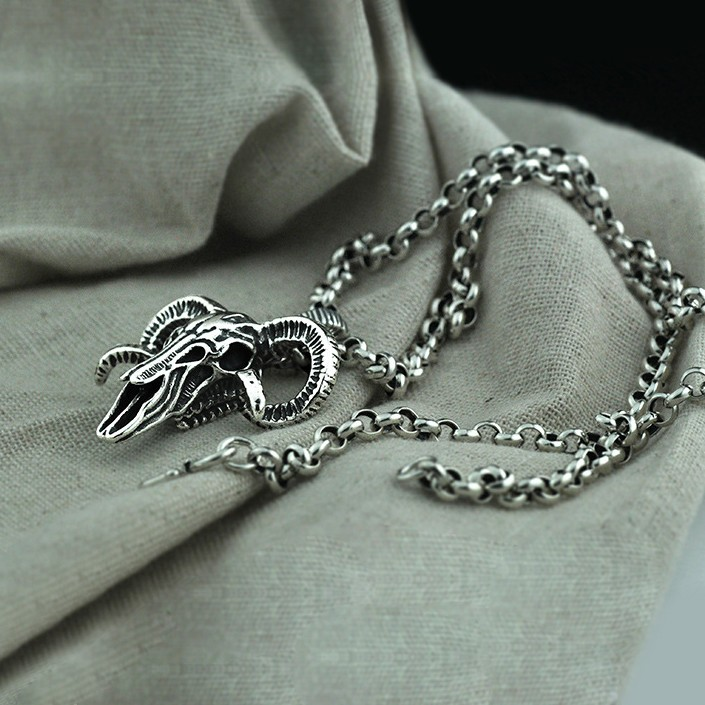 c4e6a0f89aa5f Men's Sterling Silver Ram Skull Pendant Necklace