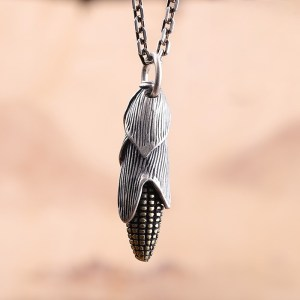 Sterling Silver Corn Pendant Necklace