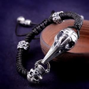 Eagle Bone Skull Braided Leather Bracelet