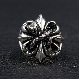 Men's Sterling Silver Cross Snake Ring