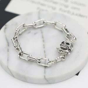 Men's Sterling Silver Skull Chain Bracelet