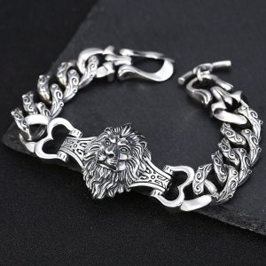 Men's Sterling Silver Lion Curb Chain Bracelet