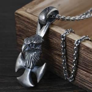 Mens Eagle Cross Pendant Necklace