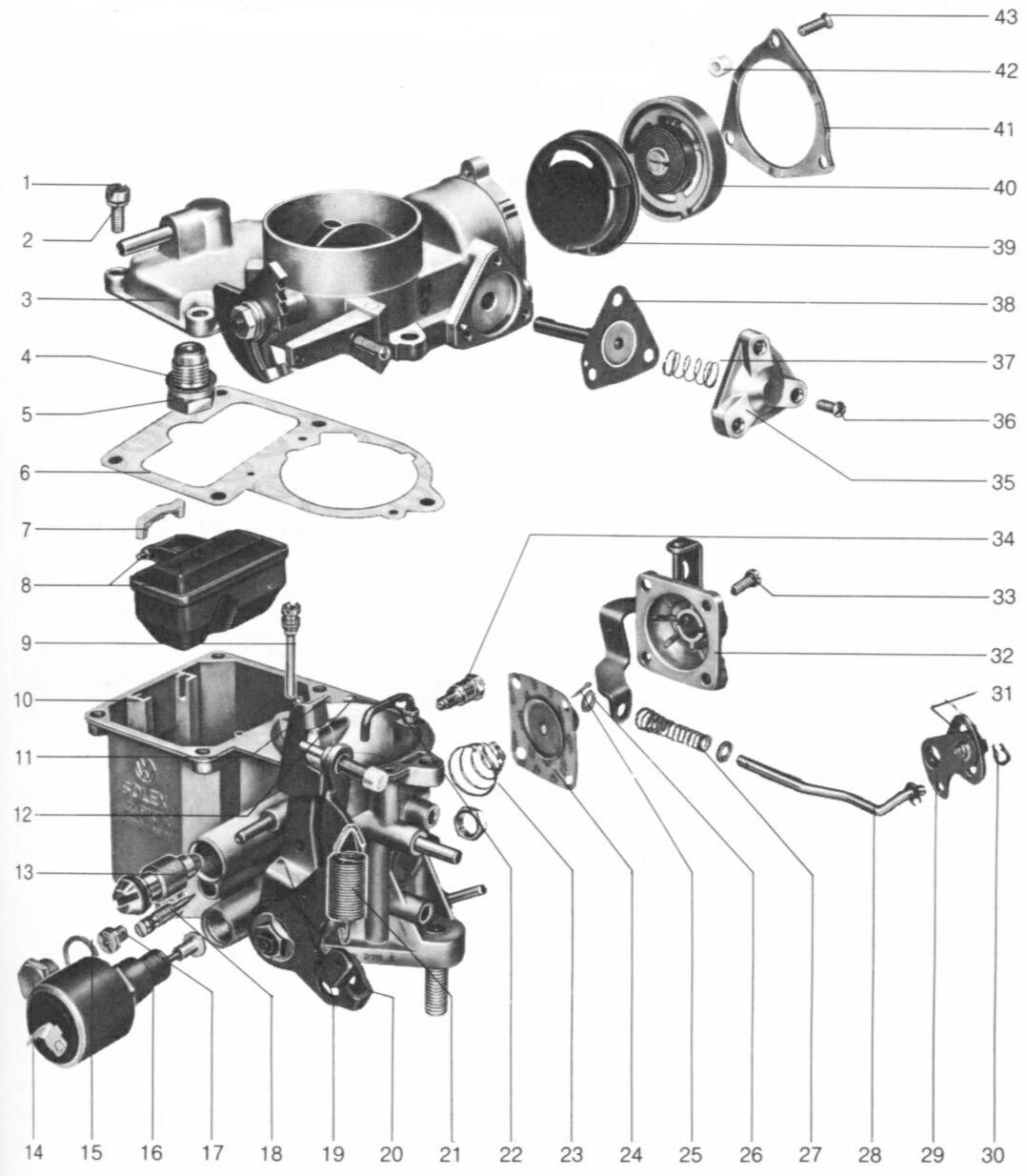 hight resolution of a general exploded view of the 34pict 3 carburetor is shown in the following diagram following that is a listing of the parts giving nomenclature and part