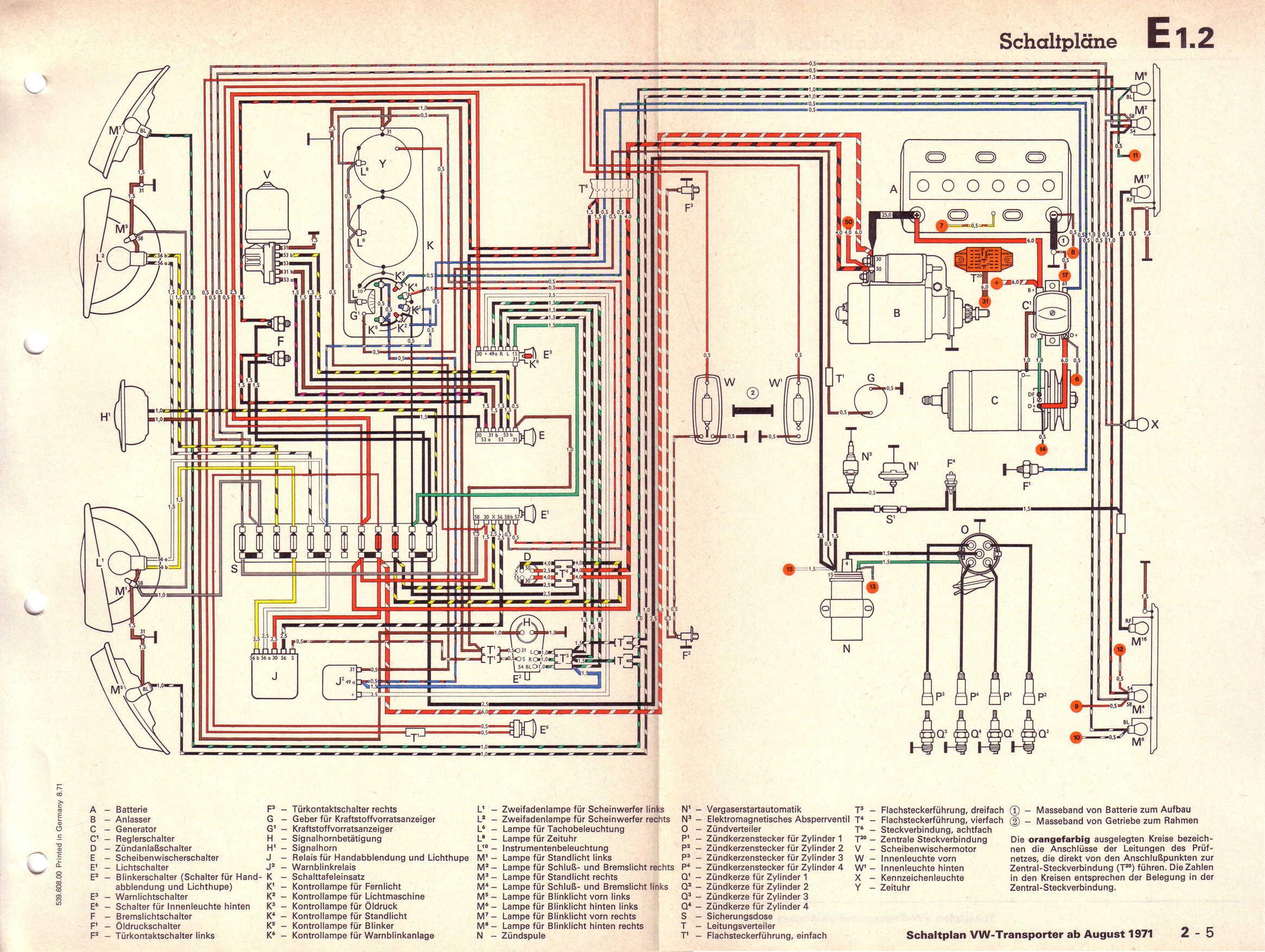 1978 vw bus wiring diagram citroen c3 baduras volkswagen t2 bulli seite stromlaufplane transporter 1 6 l vergasermotor ab august 1971