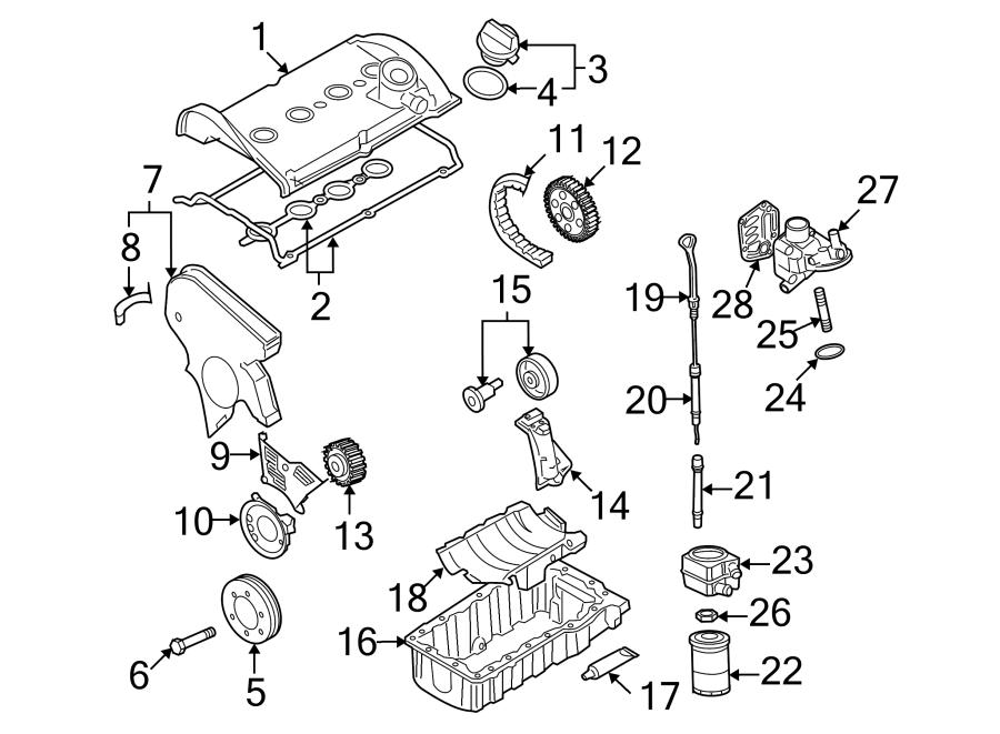 2002 Volkswagen Beetle Adapter. Engine oil cooler bracket