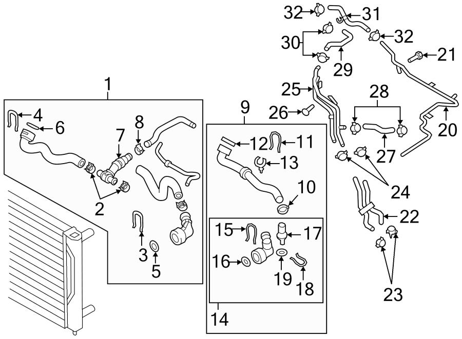 Volkswagen Beetle Radiator Coolant Hose (Front, Rear