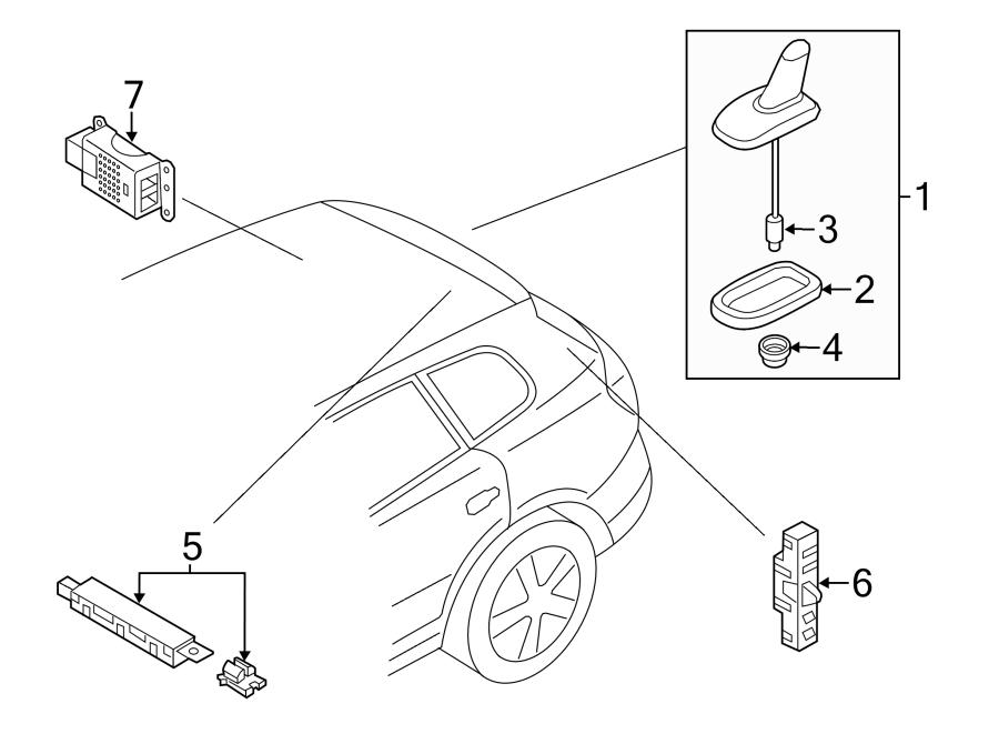 2013 Volkswagen Tiguan Radio Antenna Connector. SEDAN