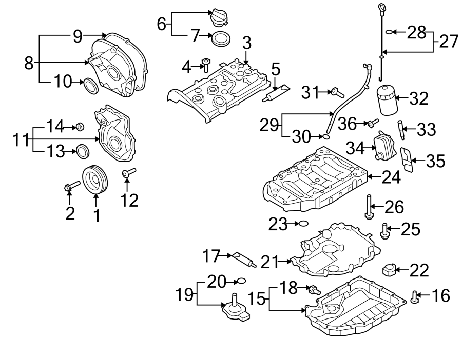 2016 Volkswagen e-Golf Engine Timing Cover (Front, Lower