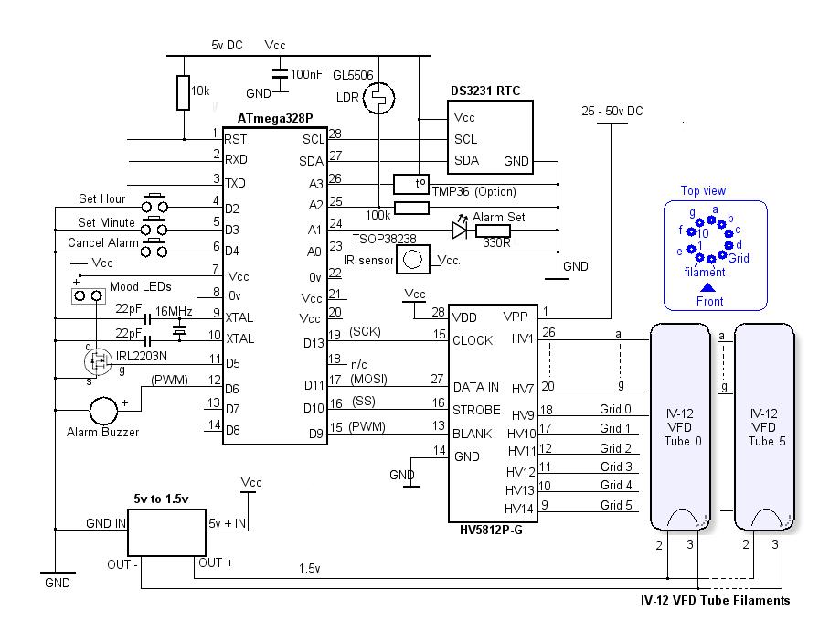 IV-12 (ИB-12) Vacuum Fluorescent Display Clock