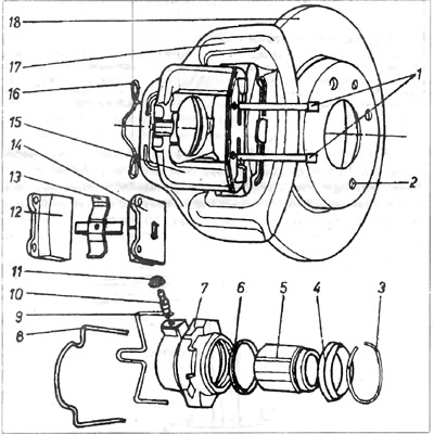 Тормозные зажимы передних колес (Шасси / Тормозная система