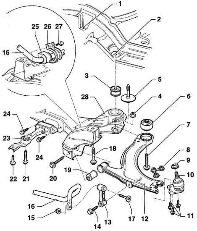 Устройство передней подвески (Шасси / Подвеска автомобиля