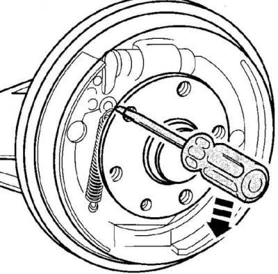 Снятие задних тормозных колодок на барабанных тормозах