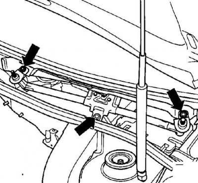 Снятие и установка двигателя стеклоочистителя ветрового