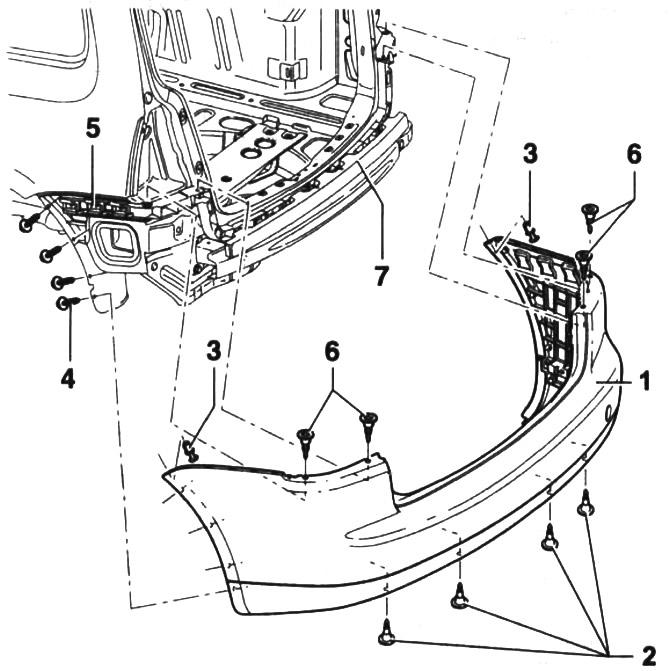 Задний бампер — снятие и установка (Кузов / Экстерьер