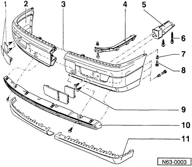 Снятие и установка переднего бампера (Кузов / Экстерьер