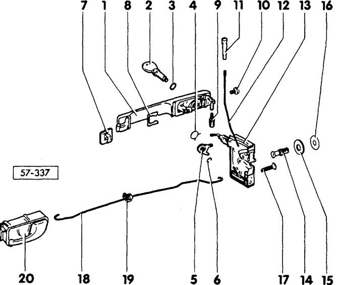 Снятие и установка замка двери (Кузов / Интерьер