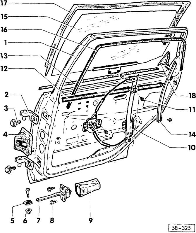 Снятие и установка / регулировка задней двери (Кузов
