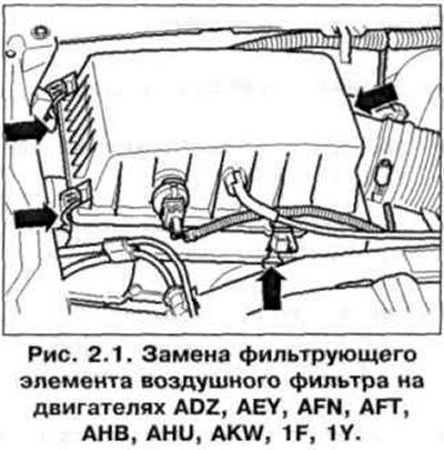 Замена фильтрующего элемента воздушного фильтра (Общая