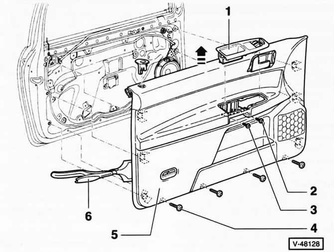 Снятие и установка облицовки двери (Кузов / Экстерьер
