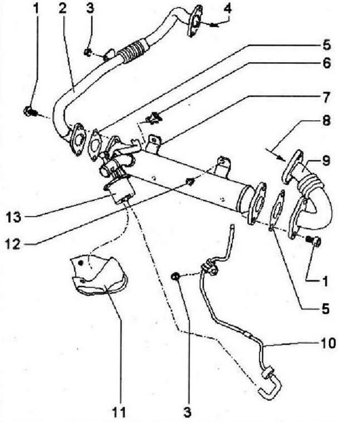 Систеиа рециркуляции отработавших газов (Силовой агрегат