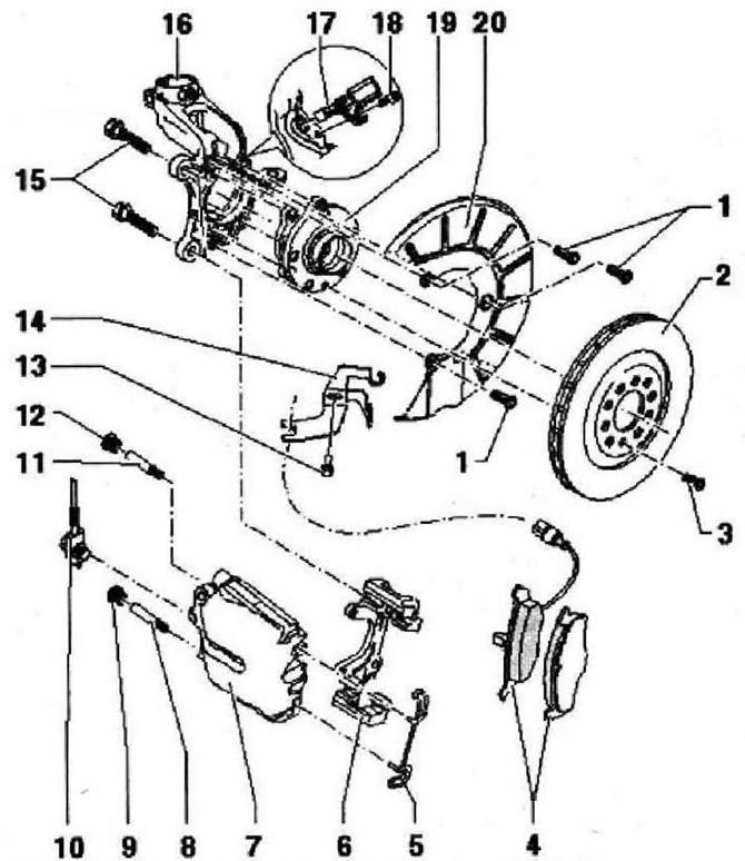 Ремонт передних тормозов, тормозной суппорт FN 3 (Шасси
