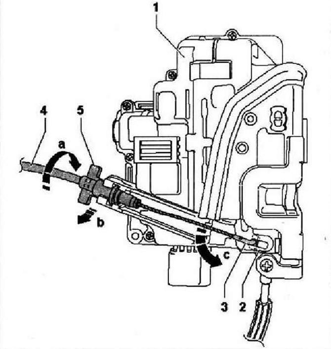 Снятие и установка замка задней двери (Кузов / Внешнее
