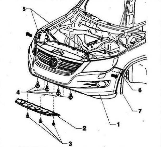 Снятие и установка облицовки переднего бампера (Кузов