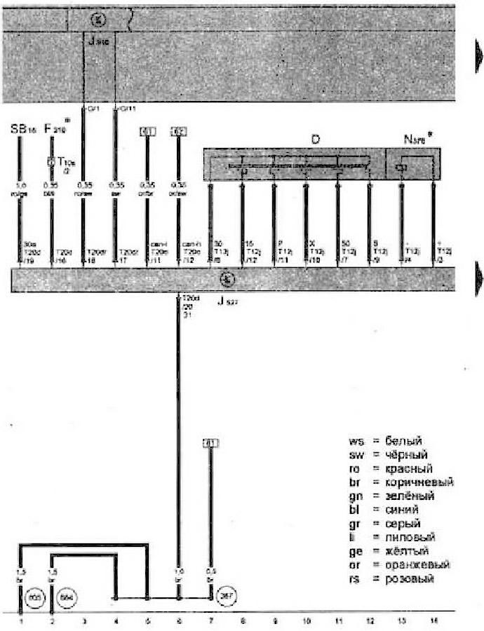 Блок управления рулевой колонки, предохранитель SB16