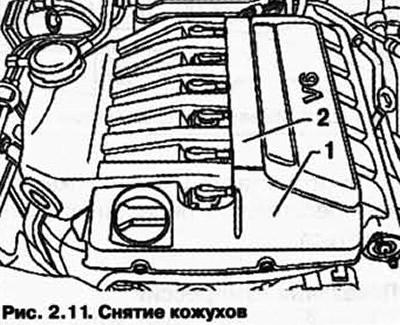 Снятие и установка верхнего кожуха двигателя (Силовой